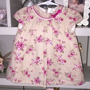 NWT Mayoral Pink Rose Printed Dress Eyelet Lace